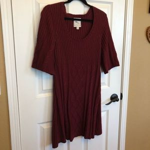 Pink Rose Burgundy 3/4 Bell Sleeve Sweater Dress